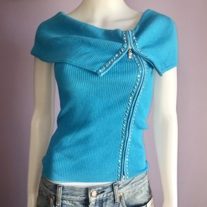 Cache Blue Off Shoulder Zip Up Bling Top Sz Small